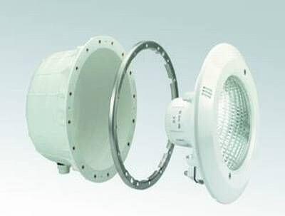 Unterwasserscheinwerfer ABS für Folienbecken komplett V4A Flansch
