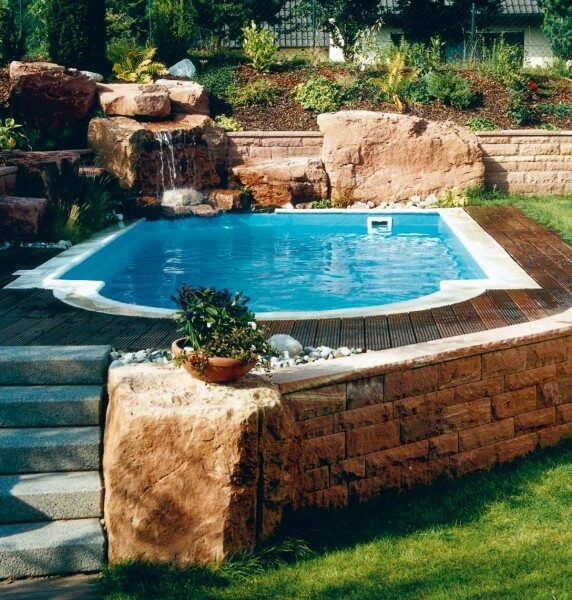 Komplett-Set Future Pool Power S 3,50 x 7,00 x 1,50 m mit römischer Treppe in blau